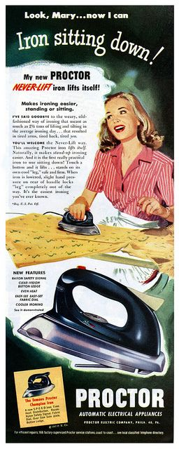 Look, Mary...now I can iron sitting down! #vintage #1940s #housewife
