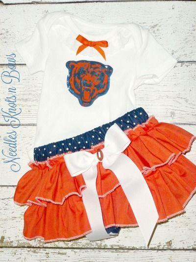 Girls Chicago Bears Outfit, Girls Bears Cheerleader Outfit, Football Team…