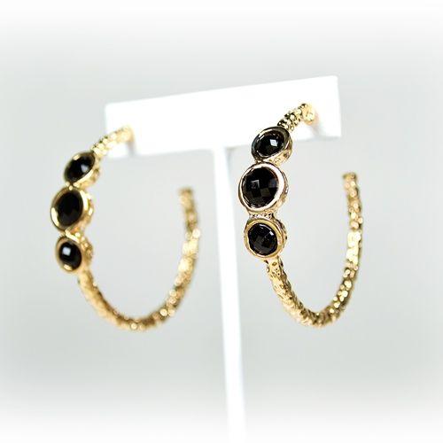 Classy Gold eardrop with black rhinestones $10