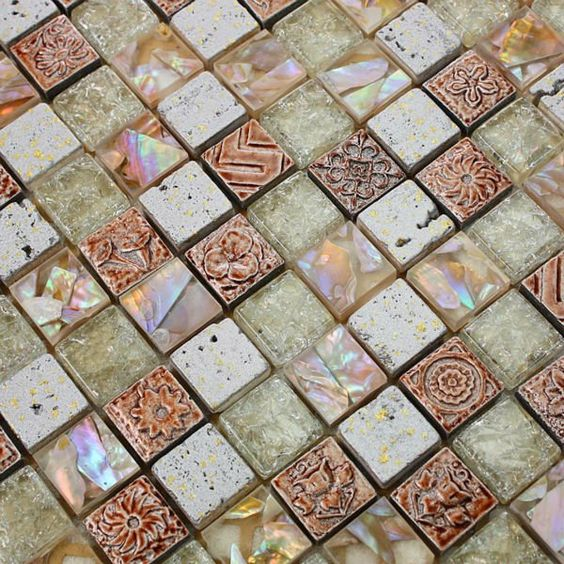 Shell tile deco mesh 23mm square mother of pearl tiles discount glass mosaic mirror bathroom wall. Shell tile deco mesh 23mm square mother of pearl tiles discount