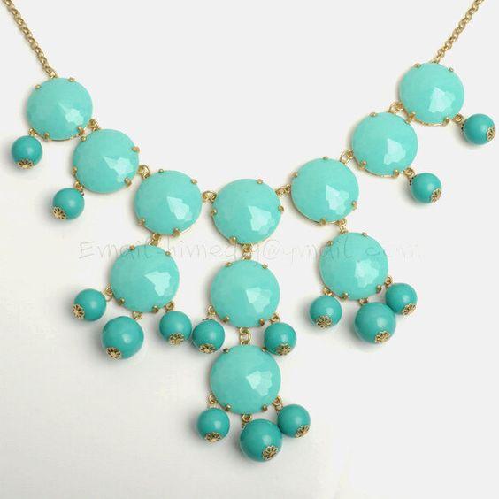 Aqua / Turquoise Bubble Statement Necklace