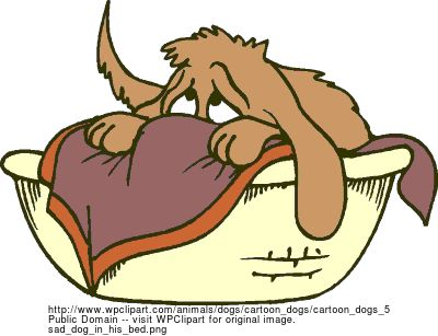 Sad Puppy Clip Art | sad dog in his bed - public domain clip art image @ wpclipart.com: