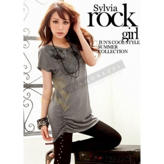 Simple Yet Attractive Long Grey T Shirt $39.90 at www.Glamorazzi.com.au