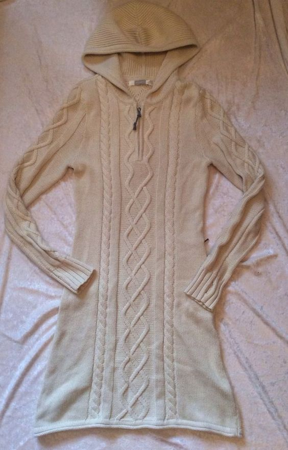 Athleta Sweater Dress Cable Knit Small Womens Hooded Cream oatmeal riding hood