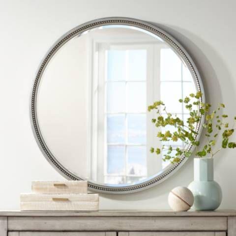 Lorraine Silver 32 3 4 Round Beaded Trim Wall Mirror 37a37
