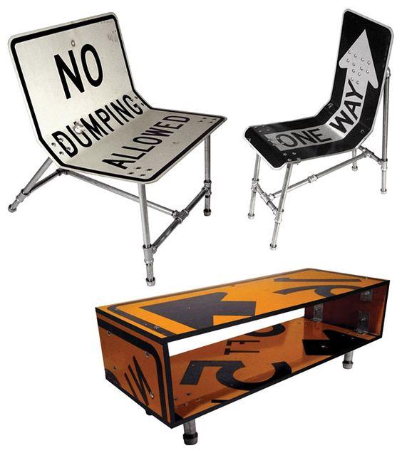 Cadeiras estilo industrial criadas com placas de trânsito.#DIY #Industrial…: