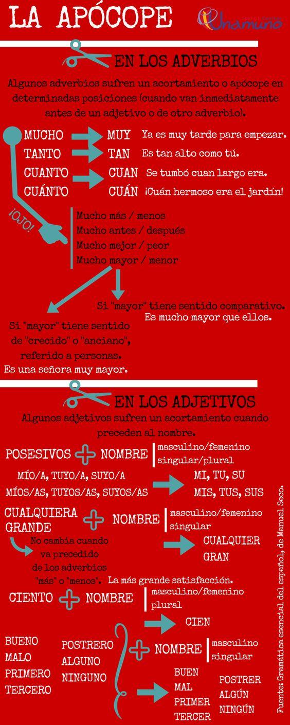 """Te damos las claves para que sepas reconocer y usar correctamente """"la apócope"""".  #gramáticaespañola #apócope #spanishgrammar"""