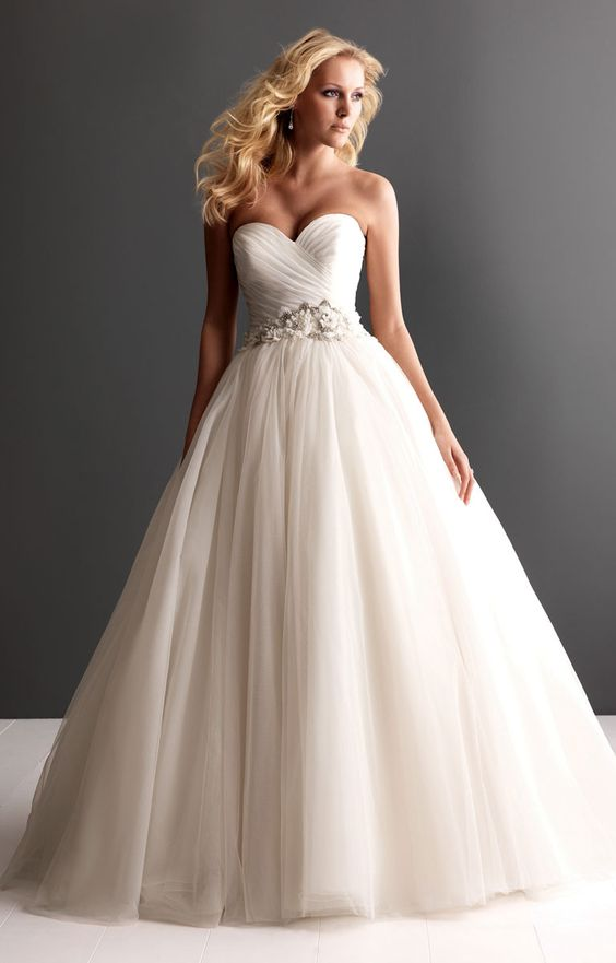 strapless ruched tulle ball gown wedding dress picture 1