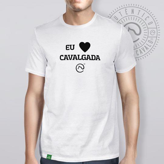 Camiseta Branca Frases Eu Amo Cavalgada Do Clube Do Cavalo