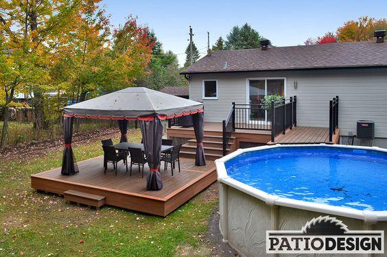 Deck de piscine hors terre en cèdre Isabelle 2 Pool Pinterest
