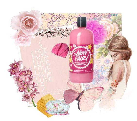 """""""¿Qué podría ser más dulce? Lush nos brinda la posibilidad de disfrutar del encantador Snow Fairy shower gel!!! Su delicioso aroma, su espuma y una dosis de brillo te harán sentirte como en un cuento de hadas...http://www.lushusa.com/"""" by luciana-viccari-calabria on Polyvore"""