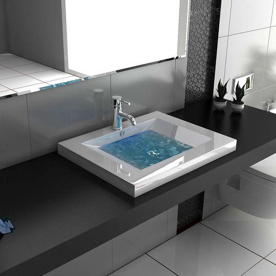 details zu design eckig waschbecken aufsatzbecken waschtisch weiss badm bel handwaschbecken design. Black Bedroom Furniture Sets. Home Design Ideas