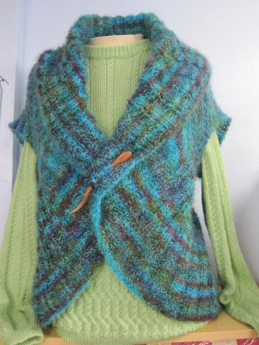 Easy Gilet Knitting Pattern : Free pattern for Circular Shrug by WoolTrends - easy peasy Knitting & C...