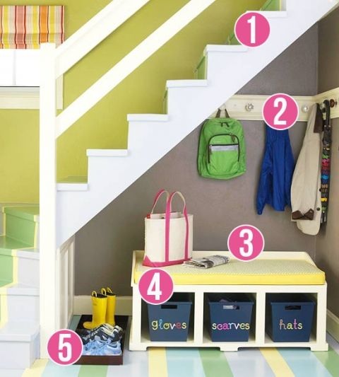 5 Tips for a Small Space Mudroom Under the Stairs via Remodelaholic: