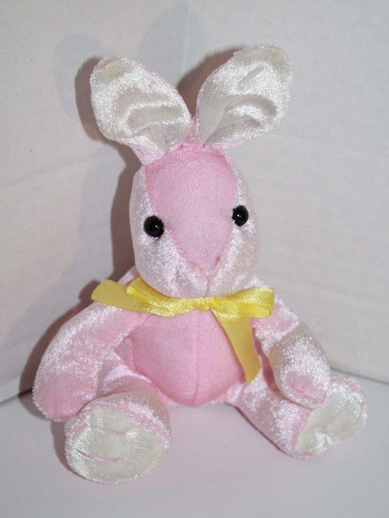 "Kids of America EASTER BUNNY RABBIT Pink Plush wearing a Yellow neck Bow Sits Stuffed Mini about 5"" #KidsofAmerica"