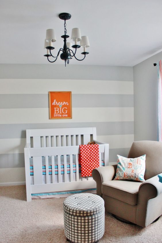 Gray Striped Orange and Aqua Nursery - #nursery #modern