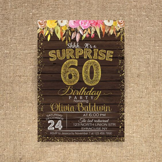60th birthday invitation Birthday party Watercolor by CoolStudio