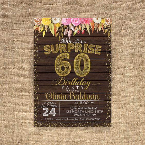 60th birthday invitation Birthday party Watercolor by CoolStudio