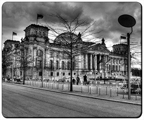 """Berlin Reichstag Black and White Customizable Gaming Mouse Pad Mat 240x200x3mm(9.45""""x7.87""""x0.12"""") by iCustom&Shop Mouse Pads http://www.amazon.com/dp/B017051K8S/ref=cm_sw_r_pi_dp_3SEkwb1Q4MA9E"""