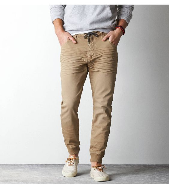 Khaki AEO Twill Jogger Pant. Show us your #AEOSTYLE on Instagram ...