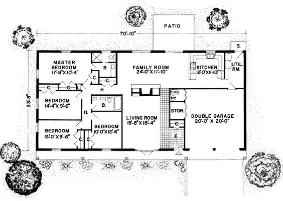 nice rectangular 4 bdr Floorplans Pinterest House plans The