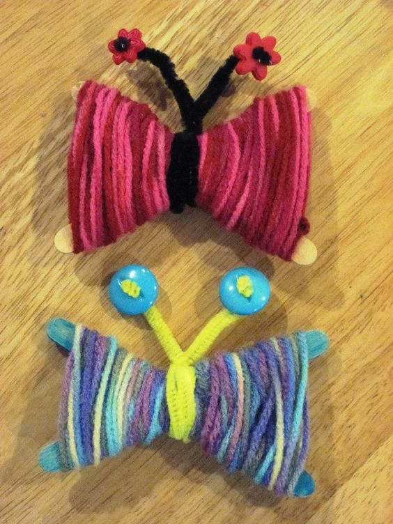 Yarn Butterflies Spring Craft  This is a great projects for kids ages 3 years and up. It will take around 30 minutes to create these beautiful butterflies. blog.gummylump.com has the detailed step-by-step explained tutorial on how to make amazing butterflies made of yarn. Check it out and tell us what you think – would you try and make them with your kids?