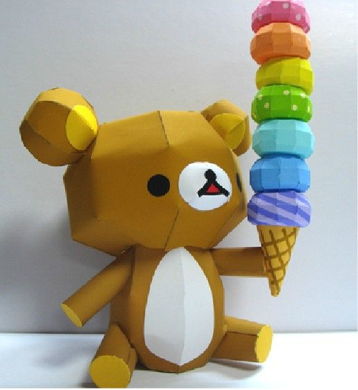 Bear With Icecream Design 3D DIY Papermodel Model Puzzle Toy ...
