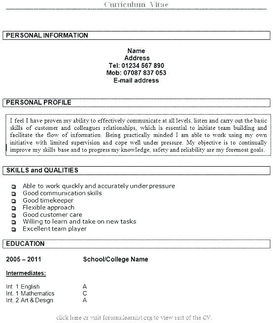Resume Examples Hobbies Resume Examples Personal Statement Examples Cv Examples