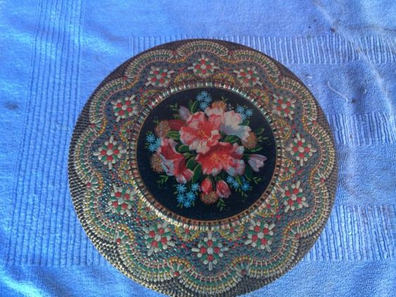Rare Vintage Round Stacking Biscuit Tin, Made In Holland Pretty Floral Picture.