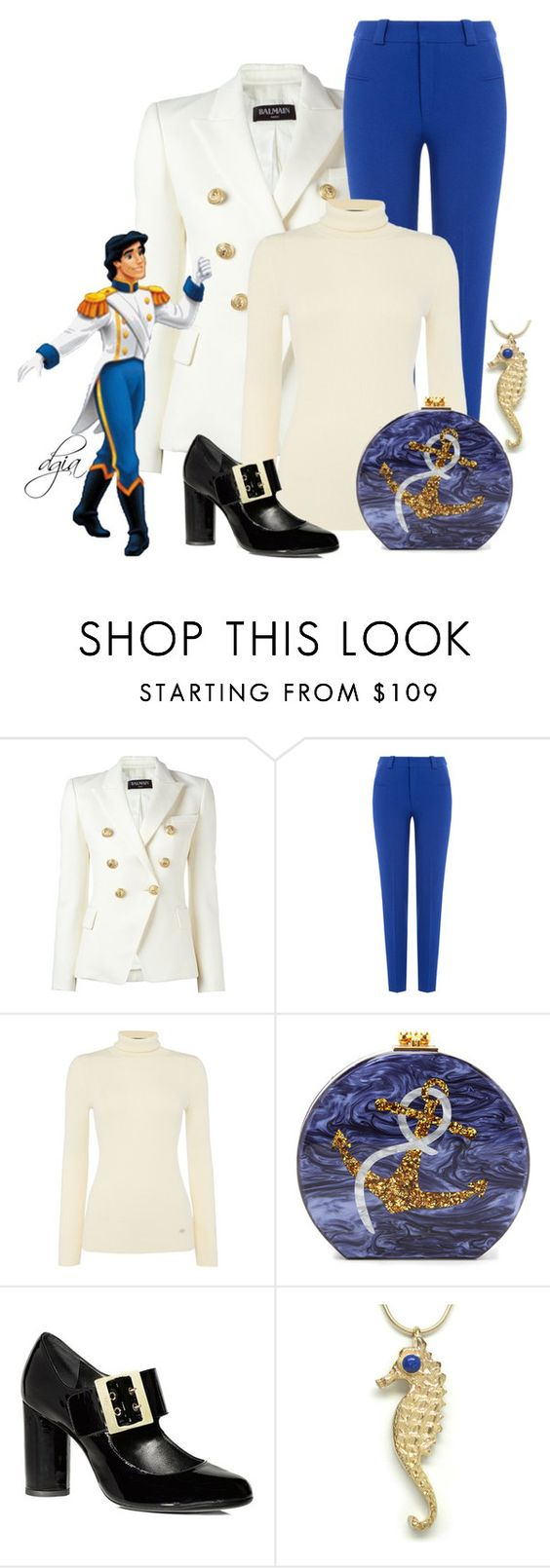 """Prince Eric"" by dgia ❤ liked on Polyvore featuring Balmain, Roland Mouret, Lauren Ralph Lauren, Edie Parker, Lanvin and Lazuli"