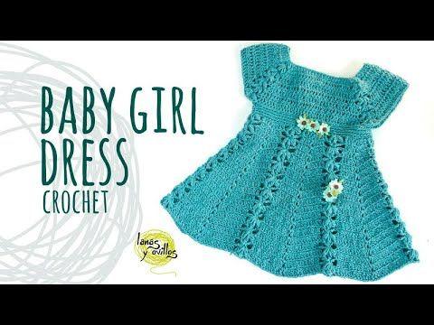 Tutorial Easy Crochet Baby Girl Dress With Flowers Lanas Y Ovillos In English Youtu Crochet Baby Girl Dress Crochet Baby Clothes Crochet Baby Dress Pattern