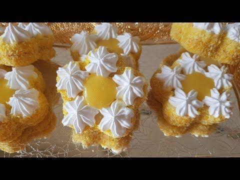 جديد حلويات العيد 2018 صابلي زهرة المرغريت بالميرانغ و كريمة الليمون ذوق خياااال Youtube Desserts Food