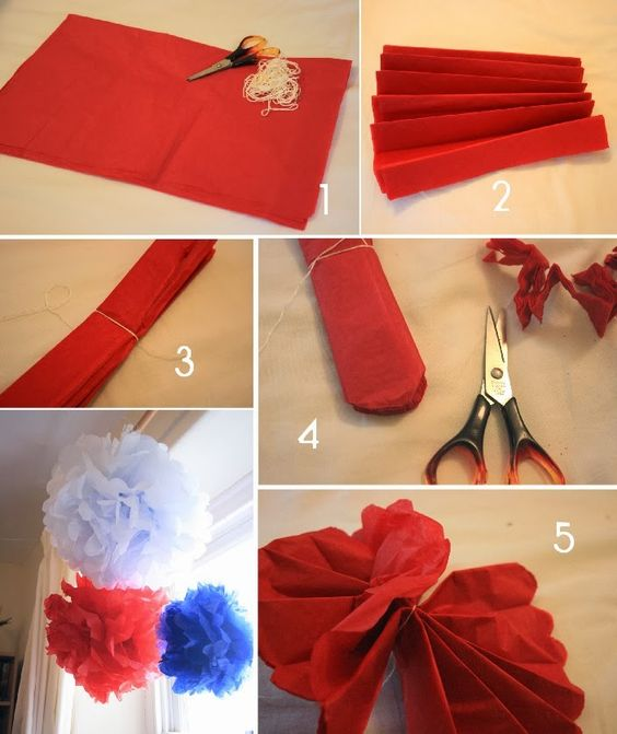 How to make crepe paper pom poms diy party decorations - Birthday decorations with crepe paper ...