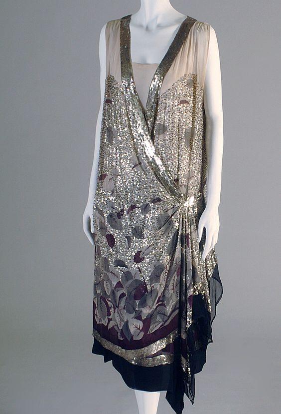 Cream silk chiffon evening dress with sequins, Lanvin, French, ca. 1925, KSUM 1983.1.395.
