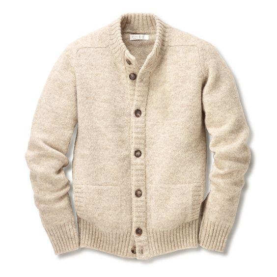 Eribé Herrenstrickjacke Peerie-Wolle - Manufactum