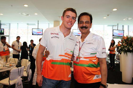 Sahara Force India driver, Paul Di Resta with Saharasri - Subrata Roy Sahara, Sahara Chairman, at the Sahara Force India F1 Team Paddock Club during Saturday Qualifying of the Indian GP