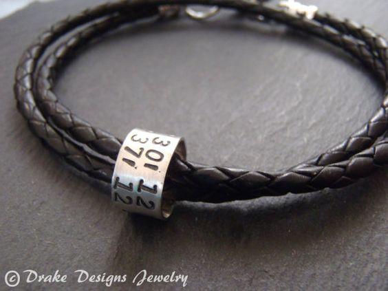 Personalized mens leather bracelet sterling silver latitude longitude bracelet anniversary Gifts for Men or for her coordinate jewelry