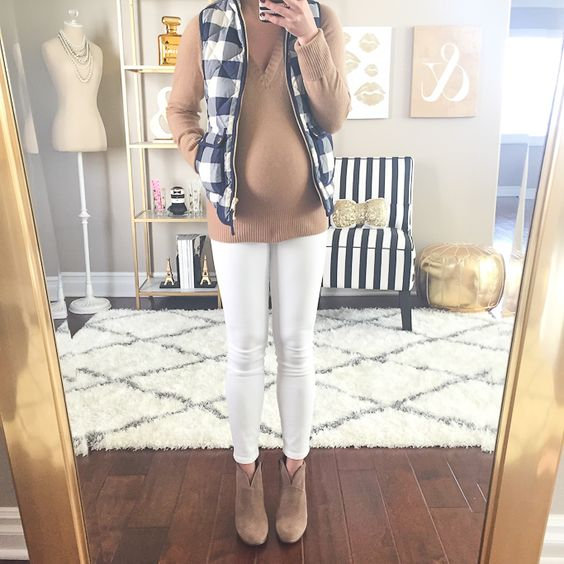 StylishPetite.com | J.Crew gingham checkered quilted vest, J.Crew toothpick maternity white jeans, Vince Camuto franell booties, camel v-neck sweater, Maternity style, petite maternity outfits, baby bump, pregnant, pregnancy style: