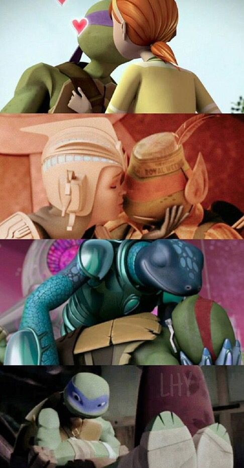 Aw, poor Leo.  He the only turtle who hasn't been kissed yet.  I'll kiss him!