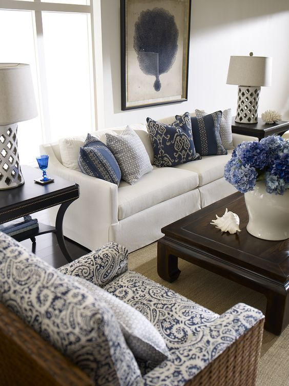 A blue and white delight. (With exotic Moroccan quatrefoil cutout lamps!) future formal living room: