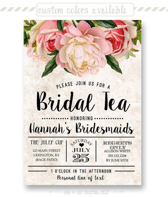 Tea Stained Floral Bridal Tea Invitation, Bridesmaid Luncheon Invite, Vintage…