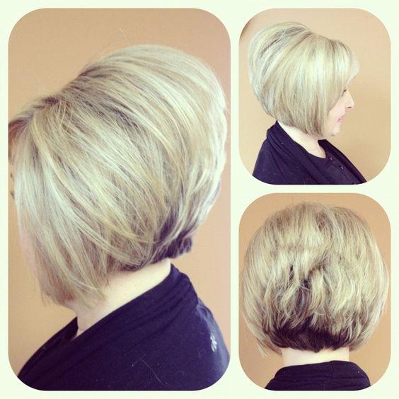 Short blonde hair, stacked bob