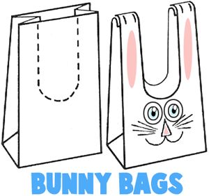 Transforme sua sacola de papel em coelhinho! Deixe as crianças pintarem, diversão garantida: