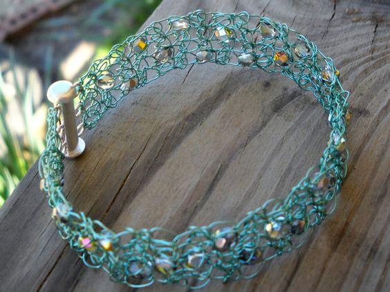 Seafoam Green and Silver Metallic Crystal by MegsCrochetJewels, $28.00