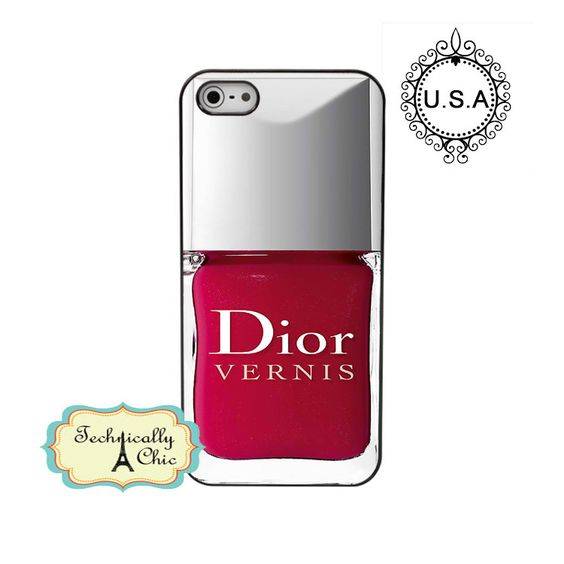 Dior nail polish iphone5 Red Nail Polish iphone5 hard case girly make up funny iphone case.  via Etsy.