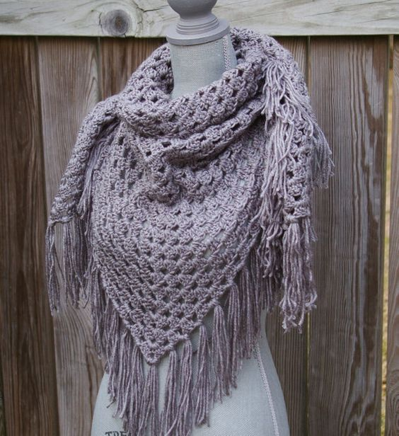 Shawl Crochet Pattern Free Triangle : Free Crochet Triangle Scarf Patterns Grey Shawl Triangle ...