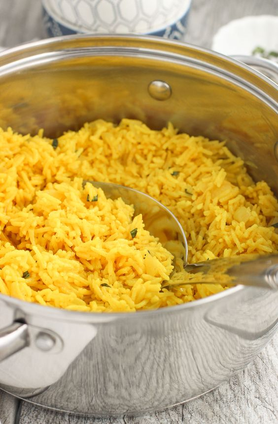 This turmeric coconut basmati rice is a flavorful, creamy rice side dish recipe that's easy to make!