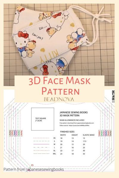 Free 3d Mask Pattern Pdf : pattern, Printable, Patterns, (Olson, Pleated), Sewing, Guide, Beadnova, Pattern,, Tutorial