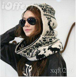 Han edition fashion warm with collar knitting Hat