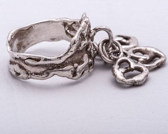 Artist #Ring Silver with Heart Shaped Dangles on #Etsy, $85.00